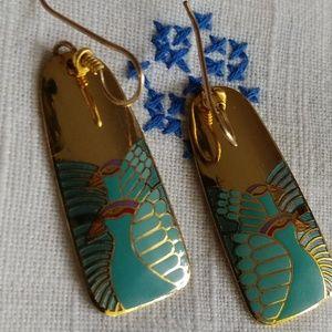 Laurel Burch Moondoves gold vintage earrings